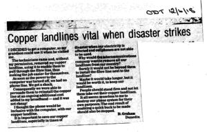 Letter to Otago Daily Times sums up benefits of copper landlines